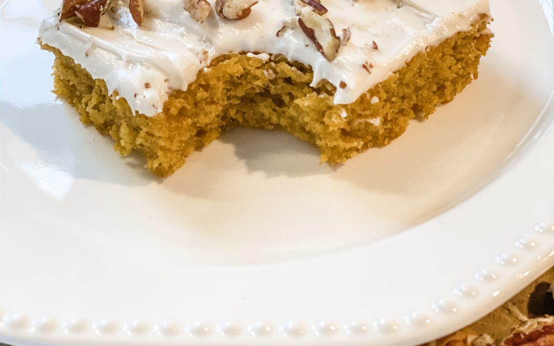 Pumpkin Bars with Cinnamon Cream Cheese Icing